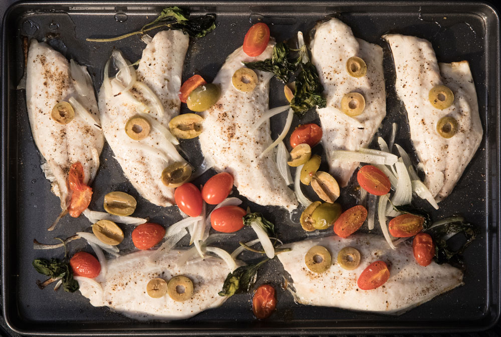 Mediterranean Sea Bream Recipe - BANDERA BRONZINI DORADE WITH BASIL & CHERRY TOMATOES